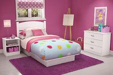 South Shore Smart Basics Bedroom White Dorm Furniture Bed Desk Chest Nightstand