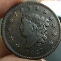 1827 1c Coronet or Matron Head Large Cent Extremely Fine XF Detail Old Cleaning