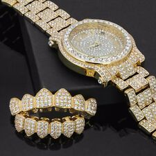 Mens CZ Fully Iced out Gold Plated Metal Silver Watch & Fully Cz Grillz