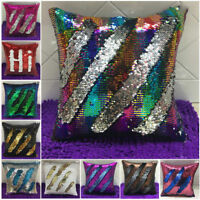 "Sparkle 16"" Magic Throw Pillow Case Reversible Mermaid Sequin Sofa Cushion Cover"