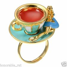 Disney Store Japan Alice in Wonderland Tea Cup Ring Rare Size Free