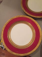 Wedgwood England Ovington Brothers & Co Red Ruby Dinner Plate Gold Trim GOOD