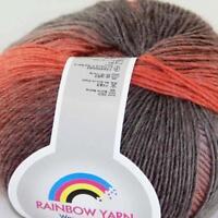 Sale DIY 1Ballx50gr Soft Cashmere Wool Colorful Rainbow Shawl Hand Knit Yarn 03