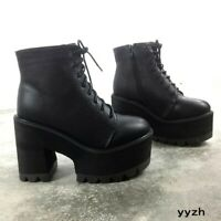 Harajuku Womens Platform Punk Gothic Boots Lace Up Biker Ankle Boots Wedge Shoes