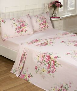 Shabby Chic Flannelette Sheet Set Brushed Cotton Double Fitted Flat Sheet Pink