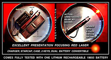 Hot Ruby Red Laser 658nm Focusing+18650 Rechargeable Lithium+Charger+Case+2 Keys