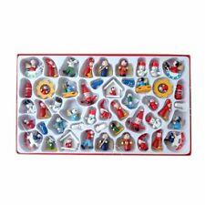 48pcs Mini Wooden Christmas Tree Ornaments Figures Vintage Miniature Decorations