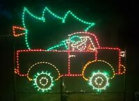 Animated XMas Tree Truck w Elf Outdoor LED Lighted Decoration Steel Wireframe