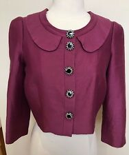 ALANNAH HILL 60's Look Raspberry Pink Silk Cropped 3/4 Sleeve Cocktail Jacket 10