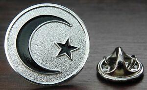 Moon & Star Crescent Pin Badge Brooch Islam Muslim