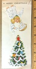 Vtg Xmas Card Flocked Mica Glitter Angel Tree Mcm Hawthorne Sommerfield ~025