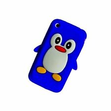 DARK Blu Apple iPhone 3/3g/3gs Pinguino Silicone Custodia Cover