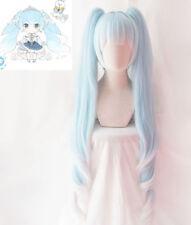 2019 Snow Hatsune Miku VOCALOD 120cm Blue Hair Cosplay Wig 2 Clip on Ponytail
