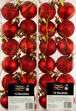 Set Of 24 Mini Christmas Shine Glitter Tree Baubles Decorations - Deep Red