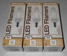Bulbrite Led Filament 4W B11 Clear Candelabra Base Dimmable - 3 Total Brand New