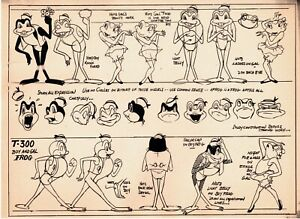 Terrytoons Production Animation Print Model Sheet 1941 Boy Gal Frog Oaken Bucket