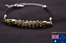 Fashion diamond silver tone Plated bracelet black leather Hand chain New design