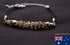 Fashion diamond silver tone Plated bracelet black leather Hand chain New design