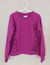 Hanna Andersson Girls Sweatshirt 130 US 8 Cotton Magenta Ruffle Long Sleeve