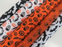 Polycotton Fabric Halloween Skulls Bats Pumpkin Orange Spiders Spooky Scary