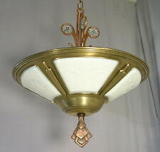 Antique 1920's ART DECO 5 Slip Shade Chandelier Brass Ceiling Light Fixture ~EX~