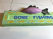 Vintage GONE FISHING Bait Sign Tackle Wooden Sign With carved wood Fish multico