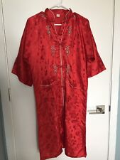 Vintage SILK Kimono Robe Dress HONG KONG Tourist Asian Funky Fire Engine Red