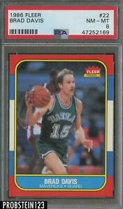 1986 Fleer Basketball #22 Brad Davis Dallas Mavericks PSA 8 NM-MT