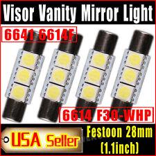 4 X Pure White Fuse Festoon 28mm-29mm 5050 3SMD SunVisor Vanity Mirror LED Light