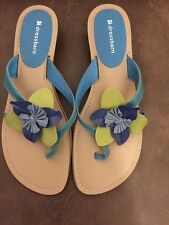 Women's Dressbarn Turquoise, Lime Green, & Blues Thong Sandals Size 8M Darby NEW