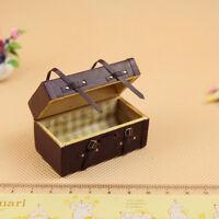 1:12 Dollhouse Miniature Vintage Leather Wood Suitcase Mini Box Case.