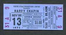 Original 1975 Harry Chapin Unused Concert Ticket Spokane Cat's In The Cradle