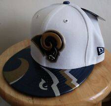 Rams White Hat NFL New Era LA 59FIFTY Cap Los Angeles Logo Patches Onstage 7 3/8