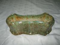 Vintage Large Art Deco Australian Pates Pottery Green Mottle Trough Vase