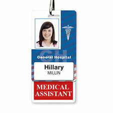 MEDICAL ASSISTANT Vertical Badge Buddy with Red Border - MA ID Badge Backer