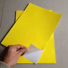 50pcs A4 Yellow Matte Self Adhesive Sticker PP Synthetic Paper for Laser Printer