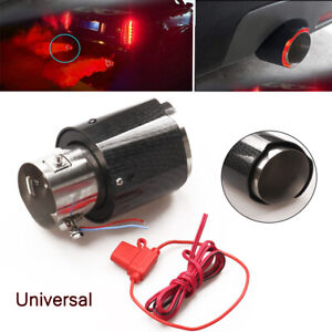 Universal 35-61mm Inlet Carbon Fiber Glossy Car Exhaust Muffler Pipe W/LED Light
