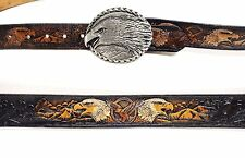 Vtg Brown Black Tooled Leather Eagle Western Biker Belt Mens 3XL 44 46 48 50 USA