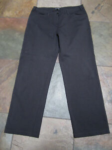 EILEEN FISHER L 14/16 Brown Rayon Blend Straight Leg Fitted Loose Fit Slacks B