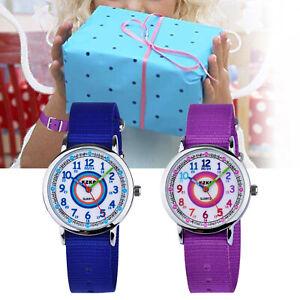 Nylon Kinderuhr Armbanduhr Lernuhr Mädchen Jungen Quarz Kinder Watch Geschenk