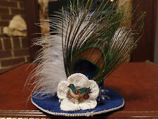 OOAK Steampunk Mini Top Hat - Blue Songbird with Peacock Feather