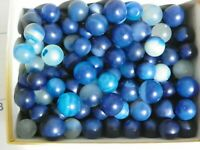 Agate Marbles Dozen of 5/8 inch to 3/4 Natural Gemstones Dyed Blue Vintage
