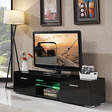 High Gloss TV Stand Unit Cabinet Console Furniture with LED Shelves 2 Drawers