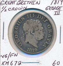 GREAT BRITAIN HALF CROWN 1819 GEORGE III KM#672 - VG/FN