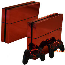 China Red Glossy Decal Skin Sticker for Playstation 4 PS4 Console + Controllers