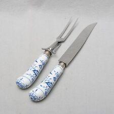 Meissen Zwiebelmuster großes Tranchierbesteck, Gabel + Messer, Bratenbesteck RAR