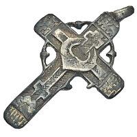 RARE Russian Byzantine Silver Cross Pendant Artifact Europe - Ca. 1600-1800's -C