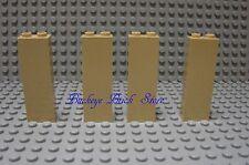 Lego TAN BRICK WALL 1 x 2 x 5 Lot/4