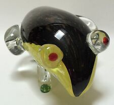 Vintage Art Glass Big Eye Frog Copper Aventurine Yellow Black