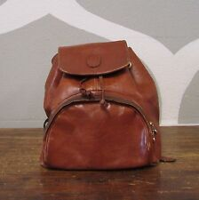 VINTAGE MADE IN ITALY Italian Leather Foldover Womens Backpack Bag Rucksack Boho